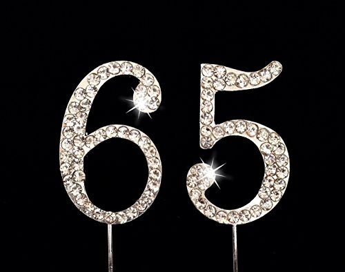 65th Birthday / Wedding Anniversary Number Cake Topper with Sparkling Rhinestone Crystals - 1.75