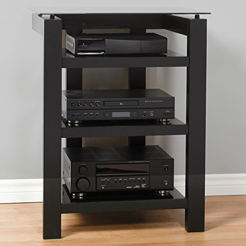 Plateau SL-4A B BG Wood and Glass Audio Stand, Black Satin Paint Finish