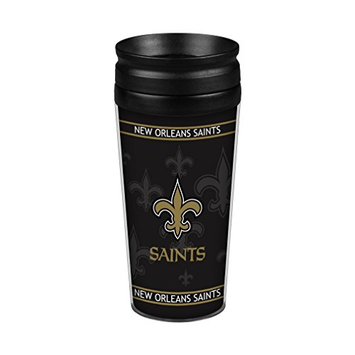 NFL New Orleans Saints Full Wrap Travel Tumbler, 14-Ounce, Gold
