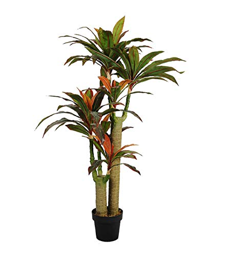 AMERIQUE Gorgeous & Dense 5' Tropical Dracaena Marginata Tree Artificial Silk Plant with UV Protection, with Nursery Plastic Pot, Feel Real Technology, Super Quality, 5 Feet Green and Orange ()