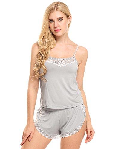 Ekouaer Women Pajamas Sexy Short Sets Lace Camisole Lingerie Sleepwear (Grey, L) by Ekouaer (Image #7)