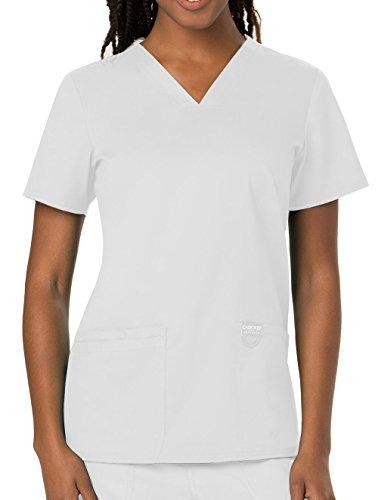 (Cherokee Women's V-Neck Top, White, Small)