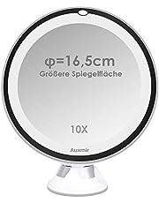 Auxmir Espejo Maquillaje con luz LED 10X Aumento Espejo cosmético 16,5CM Luminoso con Base de Ventosa, 360° Rotación, Portátil y sin Cable, Blanco