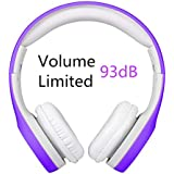 Kids Headphones Volume Limited , Over The Ear Foldable Headphones with Share Connector for Boys Girls Children (Purple)