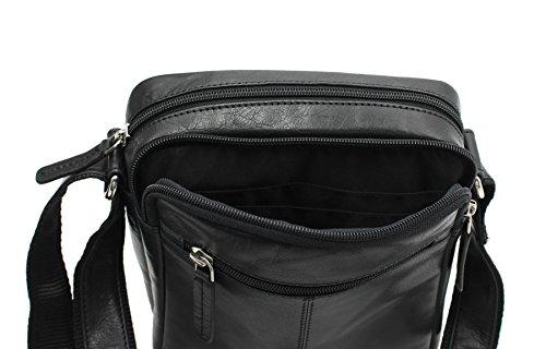 S8 de Viaje Mensajero Compacto Cuero Visconti Bolso Negro Marrón de 0wqxpA