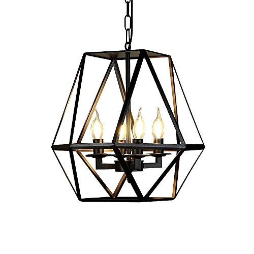 MUTANG 4-Lights Candle Chandeliers Pendant Ceiling Light, Wrought Iron Bird Cage Design Lighting Fixture Vintage Industrial Ceiling Light for Living Room Bedroom ()