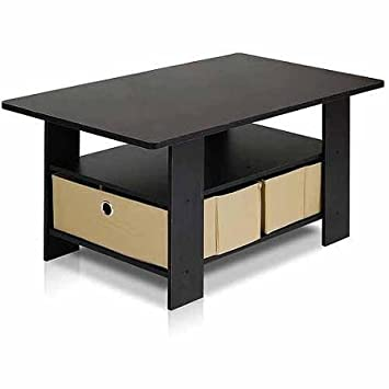 Petite Espresso Black Coffee Table With Foldable Bin Drawer By Furinno