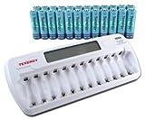 Combo: TN160 12-Bay AA/AAA NiMH/NiCD LCD Charger + 24 AA Tenergy Standard NiMH Rechargeable Batteries