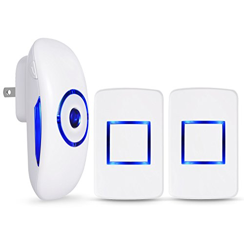 Adoric Wireless Doorbell Kit - 1 Plug-In Receiver & 2 Remote Push Buttons - 984ft Wireless Range - 36 Beautiful Melodies, CD Quality Bells, LED Indicator (White)
