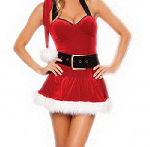 Bigood 4 Piece Santa Christmas Fur Mini Dress Set with boot Covers and Belt (4 Piece Fur Costume)