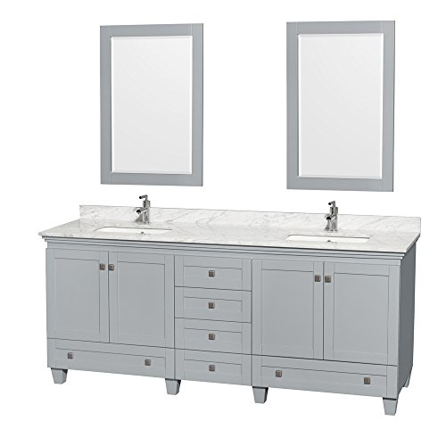 Wyndham Collection Acclaim 80 inch Double Bathroom Vanity in Oyster Gray, White -