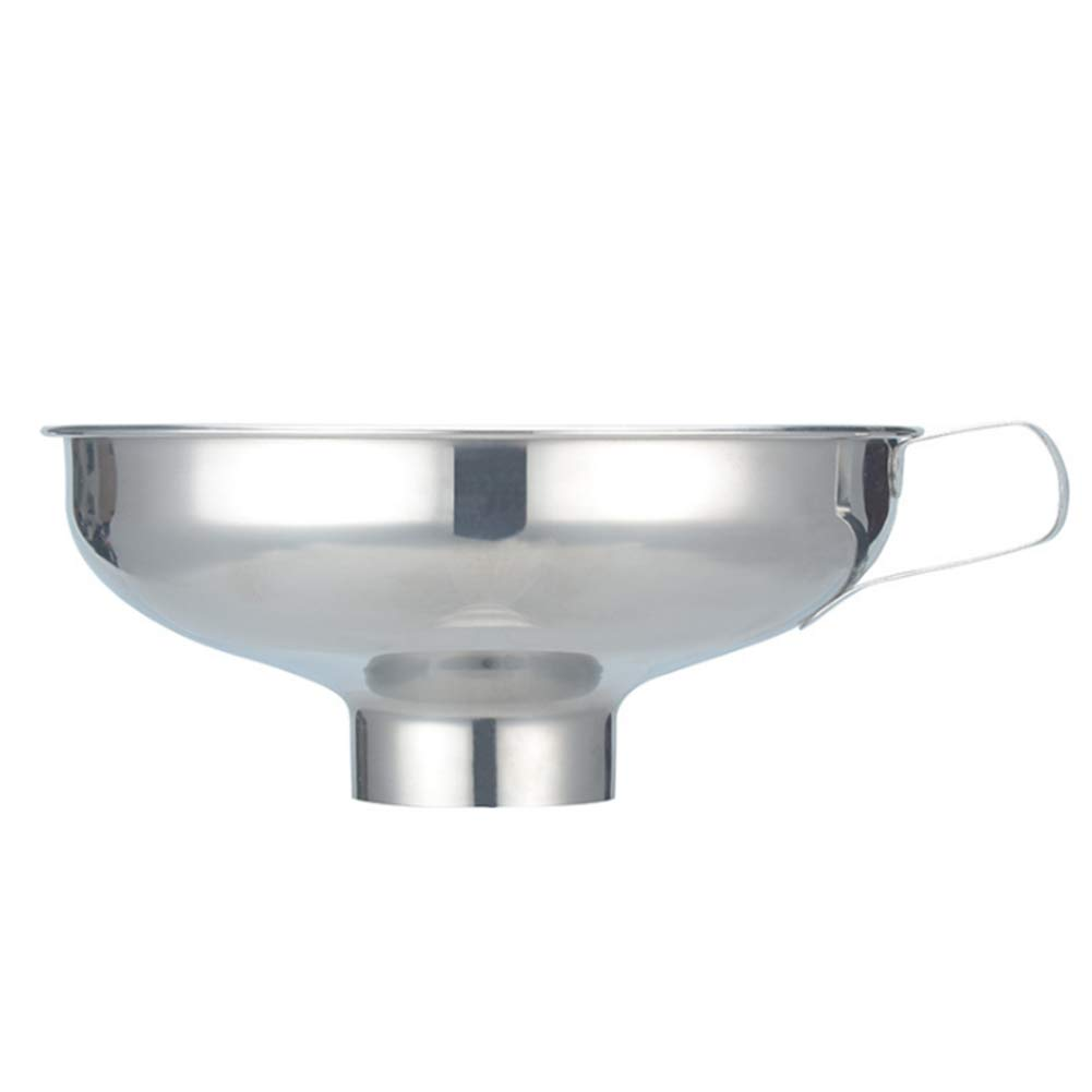 JER Stainless Steel Funnel Wide Mouth Funnel Metal Kitchen Funnel Thickening Large