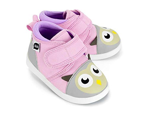 (ikiki Owl Squeaky Shoes for Toddlers w/Adjustable Squeaker, Light Pink Girl or Boy Shoes (Size 4, Dr. Owlivia Hoot))