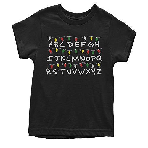 (Expression Tees Youth Alphabet Stranger Christmas Lights T-Shirt Small Black)