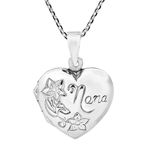 AeraVida Nana Love for Grandma Floral Heart Locket .925 Sterling Silver Necklace