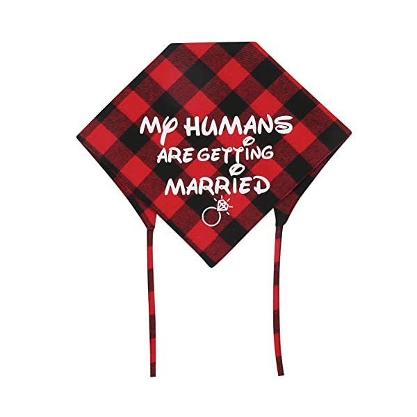 KZHAREEN 2 Pack My Humans are Getting Married Dog Bandana Printing Plaid Wedding Reversible Triangle Bibs Scarf Accessories for Dogs Cats 3
