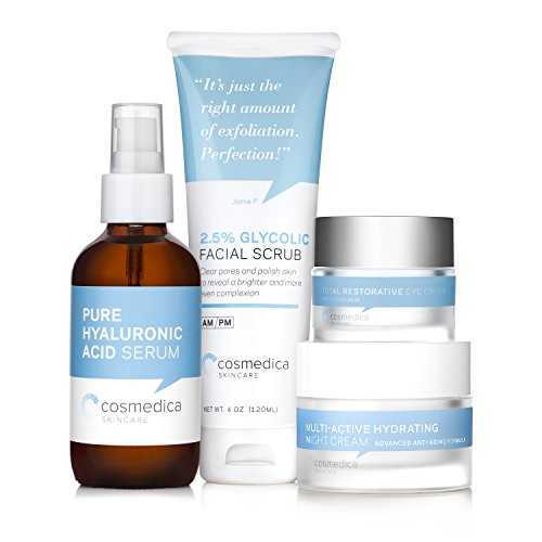 Complete Skincare Kit- Hyaluronic Acid Serum 4 Ounce , Glycolic Facial Scrub 4 Ounce , Multi Active Hydrating Night Cream and Total Restorative Eye Cream