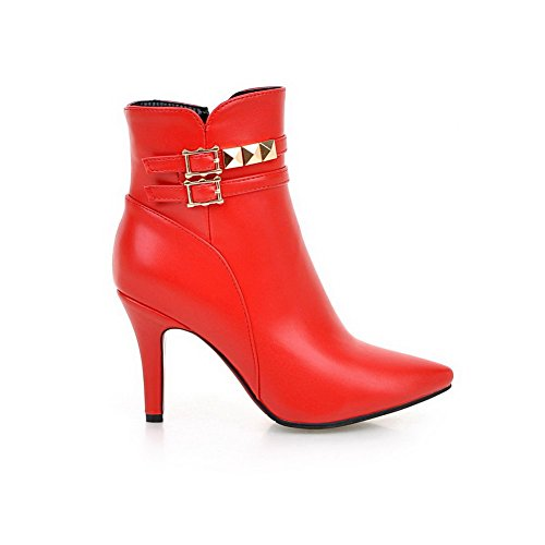 Allhqfashion Women's Pointed Closed Toe Low Top Spikes Stilettos Solid Pu Boots Red LkOrE