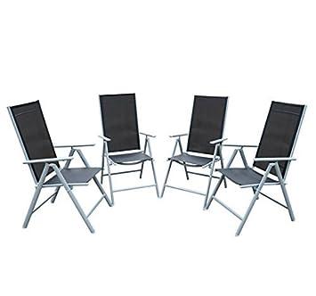 Outsunny Juego de 4 Sillas Plegables de Jardín Aluminio Juego de 4 Sillas Plegables de Jardín Hechas de Aluminio con Respaldo Ajustable y Textileno ...