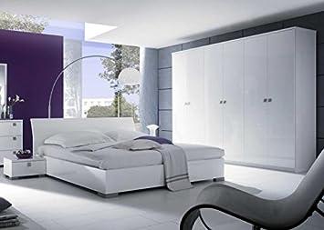 Schlafzimmer Ella Weiß Hochglanz Holz 180 x 200: Amazon.de: Küche ...