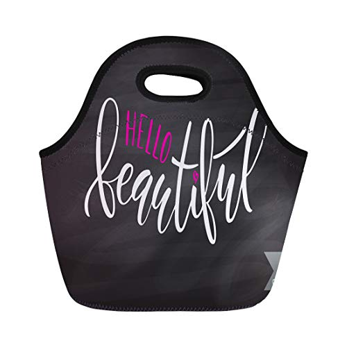 - Semtomn Lunch Tote Bag Inspirational Hello Beautiful Brush Script Feminine Lettering Reusable Neoprene Insulated Thermal Outdoor Picnic Lunchbox for Men Women