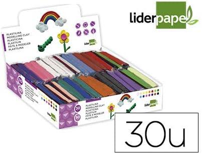 Plastilina liderpapel en barras de 50 gramos - caja de 30 unidades colores surtidos.: Amazon.es: Oficina y papelería