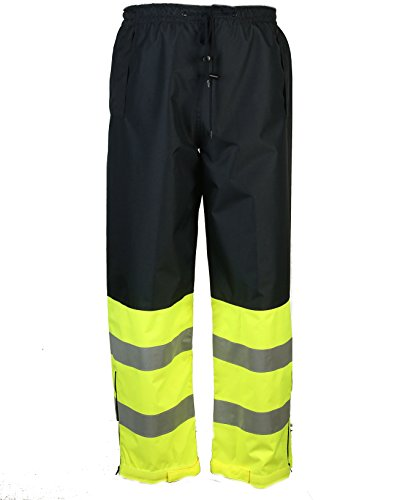 Safety Depot Two Tone Lime Yellow Black Reflective Class E Safety Draw String Pants Water Resistant High Visibility and Light Weight 737c-3 (Medium) by Safety Depot