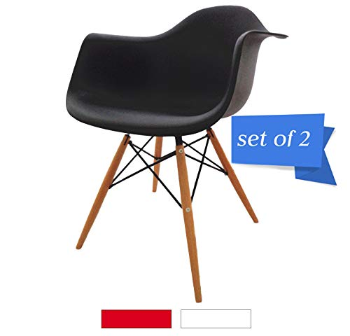 (Mid Century Modern Kitchen Table Dining Chairs - Set of 2 Eames Armchair, Shell Plastic Lounge Desk/Dining Chair with Arms & Wood Legs, Side Chair for Living Room (Black))