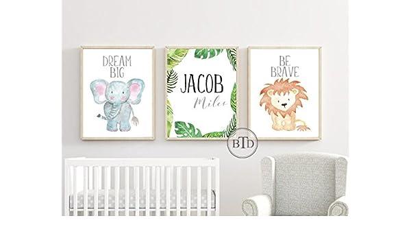 Woodland Personalised Name Nursery Prints Set Baby Girl Bedroom Art 3 Pictures
