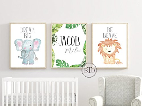 Amazon.com: Personalized Safari Nursery Decor Wall Art Print Set of ...