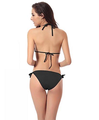 Baymate Mujer Monokini Traje De Baño Cuello Hálter Push Up Swimsuit Hueco Hacia Profundo V Collar Bañador Negro