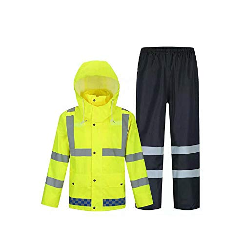 YYHSND Waterproof Rain Jacket and Pants, Reflective Safety Raincoat, Hidden Hooded Poncho Set, Fluorescent Yellow Reflective Vests (Size : S) ()