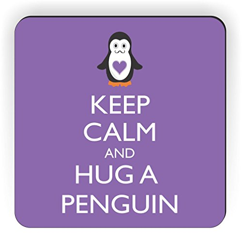 Rikki Knight Keep Calm and Hug a Penguin Design Square Fridge Magnet, Violet