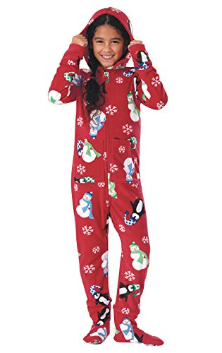 PajamaGram Hoodie-Footie Winter Whimsy Fleece Onesie Pajamas, Red, Big Girls' 14