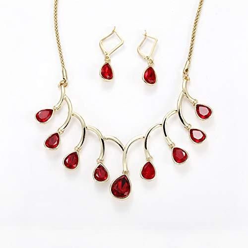 4d56626534c6 Scrox 2pcs Juego de Joyas Mujeres Elegante Novia Joyería Conjunto Brillante  Gema roja Colgante Moda Simple Collar Pendientes Pulsera Anillo  Amazon.es   ...