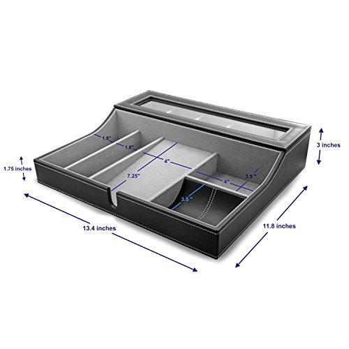 HOUNDSBAY Navigator Big Dresser Valet Tray for Men with Watch Box Jewelry Organizer & Angled Charging Station (Grey) by HOUNDSBAY (Image #6)