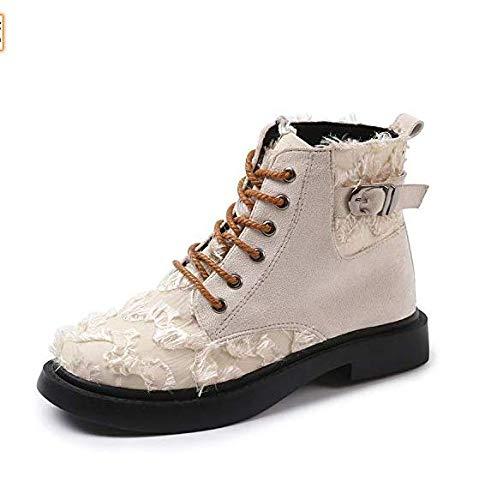 High High High Heels Retro Martin Stiefel Damen British Wind Peeling Kurze Stiefel Einzel Stiefel Damen Rundkopf Schnürung Damen (Farbe   Beige, Größe   38) d223b6