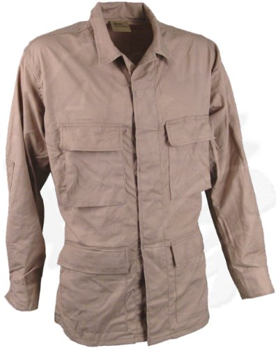 Tan BDU Shirt Jacket, Ripstop Safari Coat, Battle Dress Uniform - Military Issue - Medium Reg Only (Khaki Bdu Jacket)