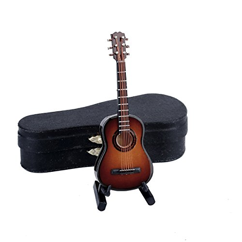 Seawoo Wooden Miniature Guitar with Stand and Case Mini Musical Instrument Replica Collectible Miniature Dollhouse Model Home decoration (Classic Guitar:Brown, 3.93