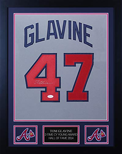 Tom Glavine Autographed Gray Atlanta Braves Jersey - Beautifully Matted and Framed - Hand Signed By Tom Glavine and Certified Authentic by JSA - Includes Certificate of Authenticity