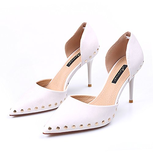 SFSYDDY Testa Bocca Superficiale Bocca Testa Scarpe Da Donna Magra Tacchi Rivetti Solo Scarpe Magro Wild 8Cm High Heeled Shoes. 39 Beige Beige 417ce0