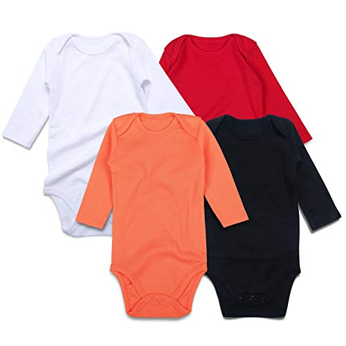 - SOBOWO Neutral Unisex Baby Bodysuit, Infant Long Sleeve Onsies, Newborn Girls' Boys' Cotton Romper Pack of 4 (0-3 Months, Black/White/Red/Orange Long Sleeve)