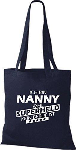 Shirtstown Stoffbeutel Ich bin Nanny, weil Superheld kein Beruf ist Navy