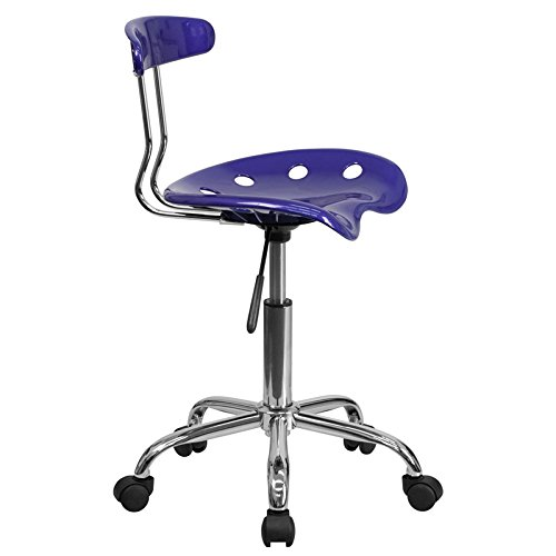 Emma Oliver Vibrant Deep Blue /& Chrome Swivel Task Office Chair with Tractor Seat