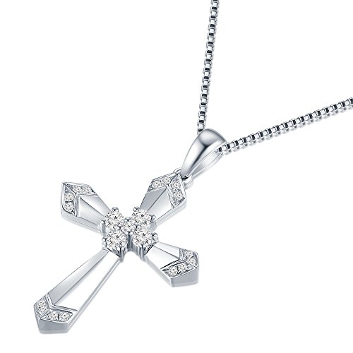 Pendentif Croix Or 750blanc 18carats avec diamant sur chaîne en argent 925collier de longueur 40cm/40,6cm (0,16carat, blanc Extra-Blanc, Couleur, Pureté VS2-SI1) Femme Bijoux Cadeau