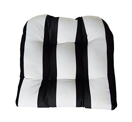 RSH DECOR Sunbrella Cabana Classic Large Wicker Chair Cushion - Indoor/Outdoor Tufted Wicker Chair Seat Cushions - Black & White Stripe (And White Stripe Sunbrella Black)