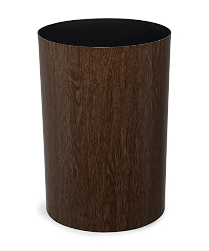 Umbra Treela Small Trash Can – Durable Garbage Can Waste Basket for Bathroom, Bedroom, Office and More, 4.5 Gallon Capacity with Elegant Walnut Exterior Finish