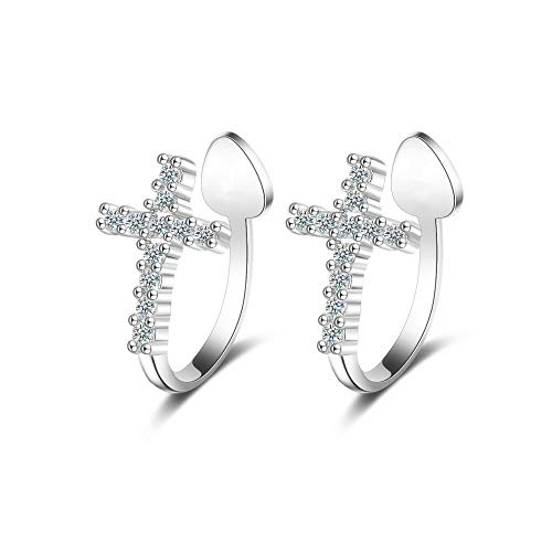 CZ Criss Cross Clip On Cuff Wrap Hoop Earrings S925 Sterling Silver Non-Pierced Ears Pave Crystal Diamond Small Cartilage Crawle