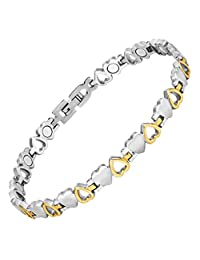 Womens Love Heart Titanium Magnetic Therapy Ankle Bracelet for Arthritis Pain Relief Size Adjusting Tool and Gift Box Included by Willis Judd