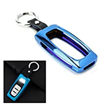 iJDMTOY (1) Premium Neo Chrome Blue Alloy Metal Key Fob Cover Case For Audi A3 A4 A5 A6 A7 A8 Q5 Q7, etc (Please verify your actual key before buying)